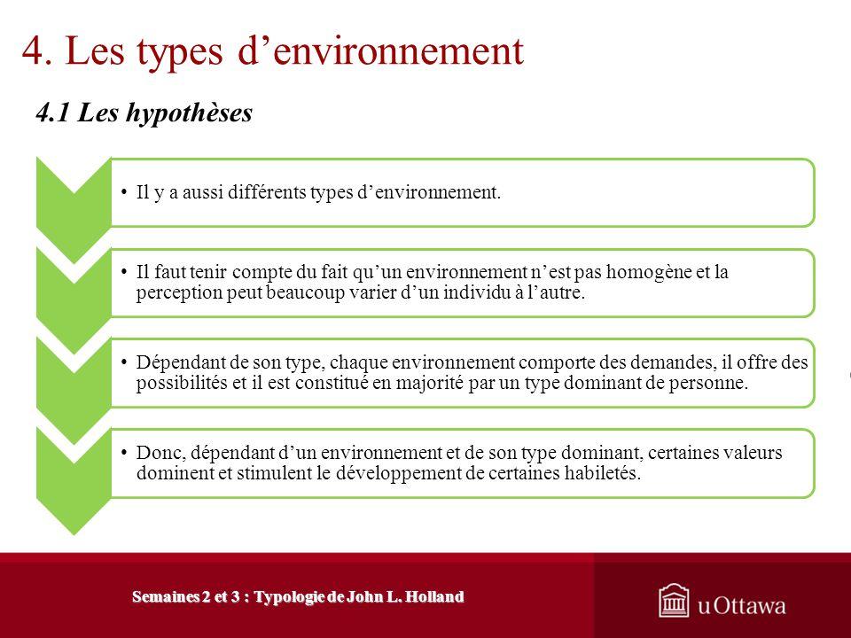 3. Description de la typologie 3.4 Facteurs de prédiction Semaines 2 et 3 : Typologie de John L. Holland La différenciation Lindividu a généralement p