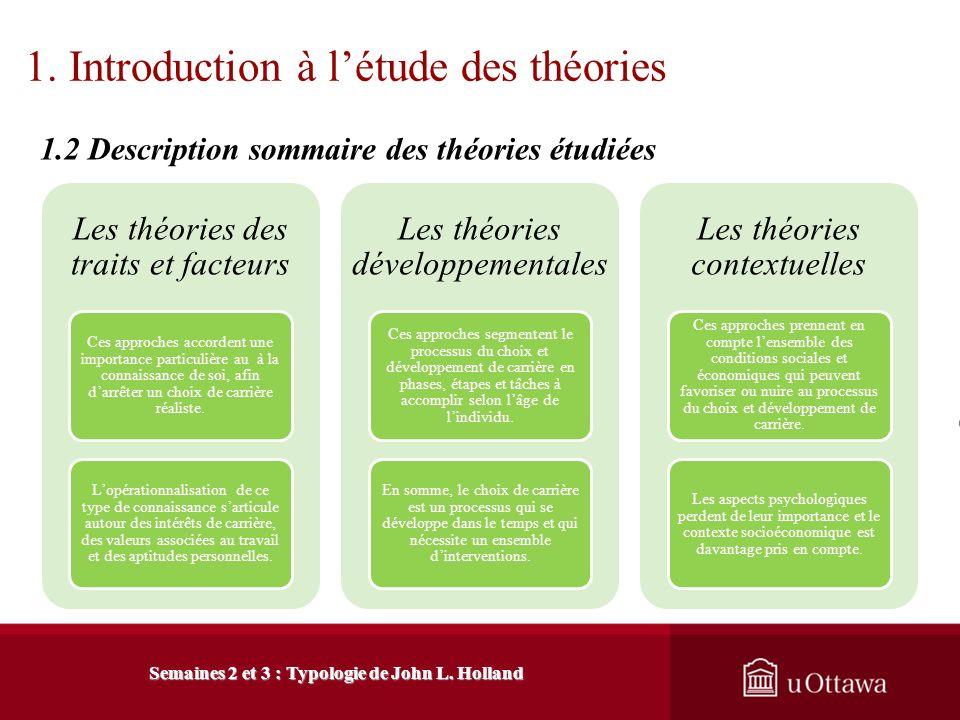 1. Introduction à létude des théories 1.1 Limportance et utilité des théories Semaines 2 et 3 : Typologie de John L. Holland Une théorie structure les