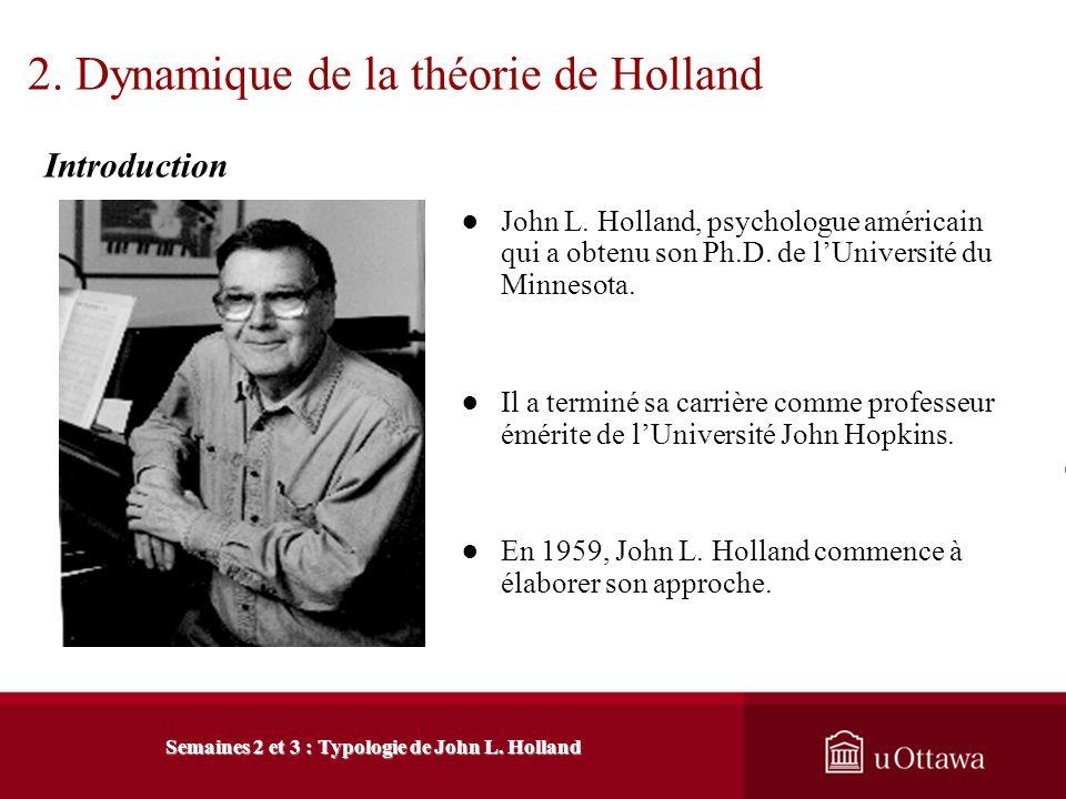 1. Introduction à létude des théories 1.3 Classification des approches théoriques Semaines 2 et 3 : Typologie de John L. Holland Les théories des trai