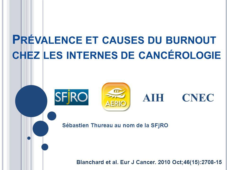 P RÉVALENCE ET CAUSES DU BURNOUT CHEZ LES INTERNES DE CANCÉROLOGIE Sébastien Thureau au nom de la SFjRO AIHCNEC Blanchard et al. Eur J Cancer. 2010 Oc