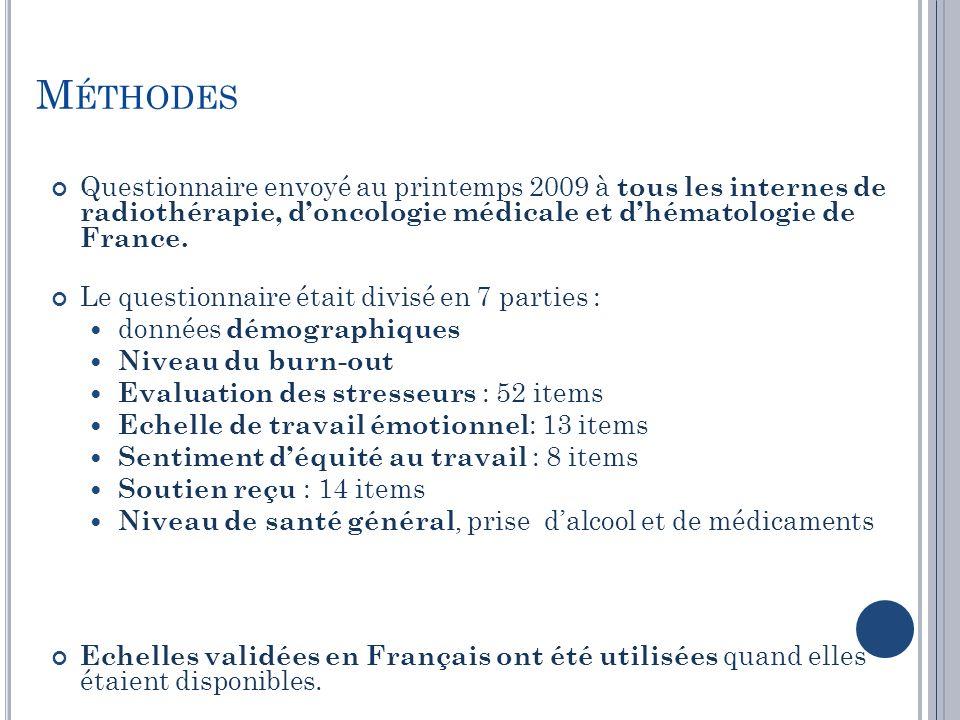 M ÉTHODES Questionnaire envoyé au printemps 2009 à tous les internes de radiothérapie, doncologie médicale et dhématologie de France. Le questionnaire