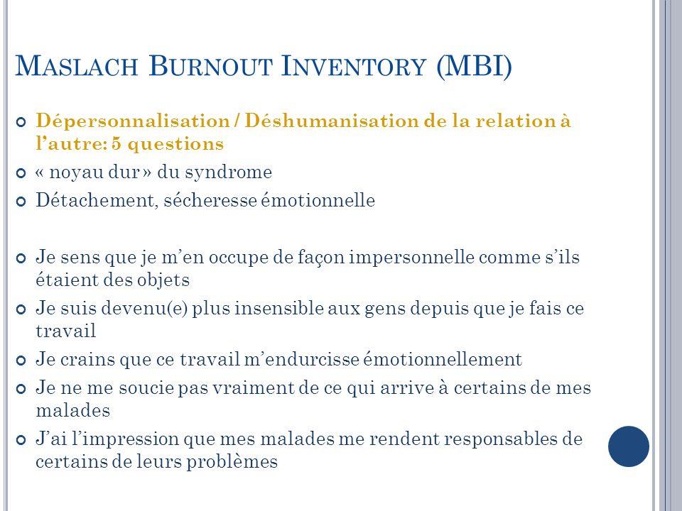 Dépersonnalisation / Déshumanisation de la relation à lautre: 5 questions « noyau dur » du syndrome Détachement, sécheresse émotionnelle Je sens que j
