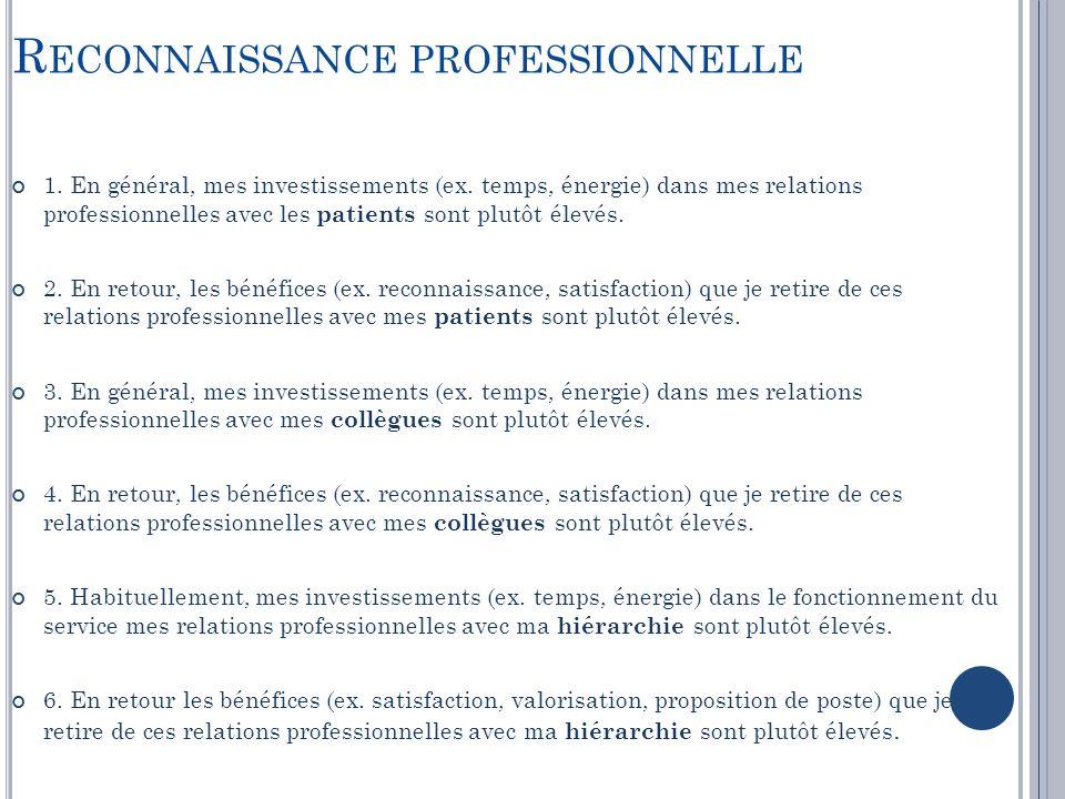 R ECONNAISSANCE PROFESSIONNELLE 1. En général, mes investissements (ex. temps, énergie) dans mes relations professionnelles avec les patients sont plu
