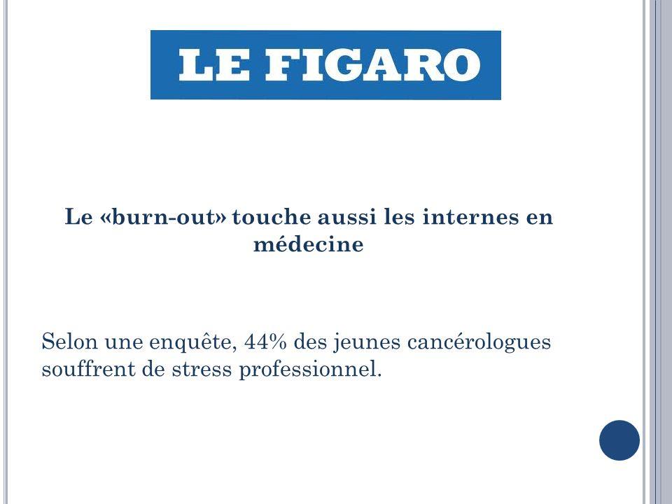 Le «burn-out» touche aussi les internes en médecine Selon une enquête, 44% des jeunes cancérologues souffrent de stress professionnel.