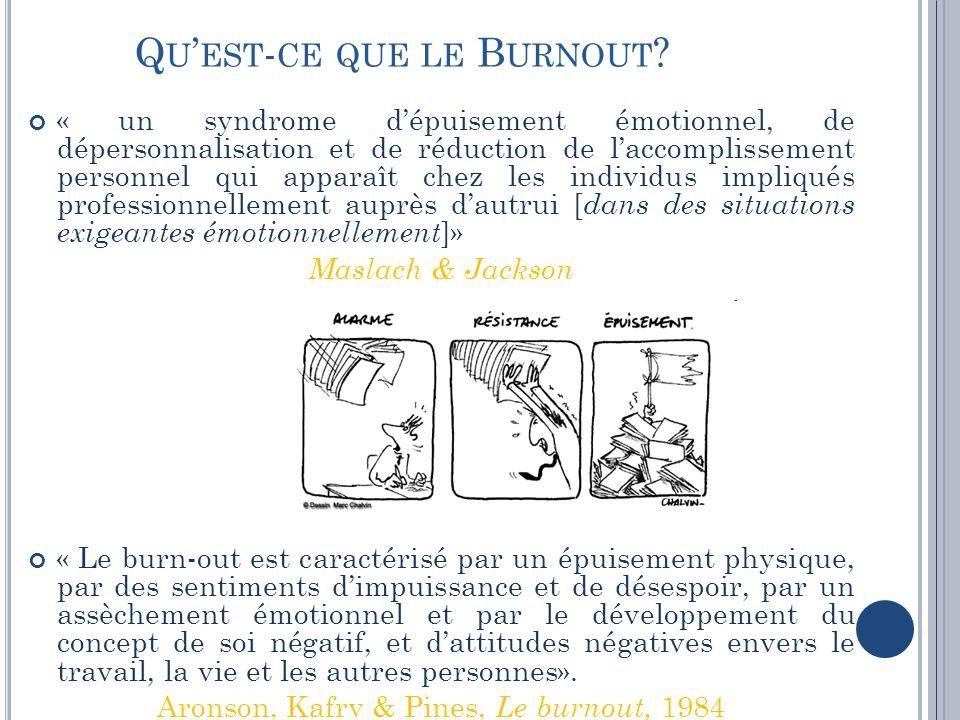 Q U EST - CE QUE LE B URNOUT ? « un syndrome dépuisement émotionnel, de dépersonnalisation et de réduction de laccomplissement personnel qui apparaît