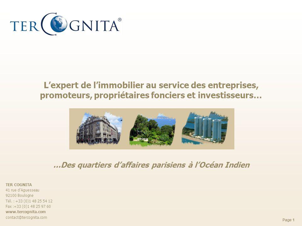 Page 1 Lexpert de limmobilier au service des entreprises, promoteurs, propriétaires fonciers et investisseurs… …Des quartiers daffaires parisiens à lO