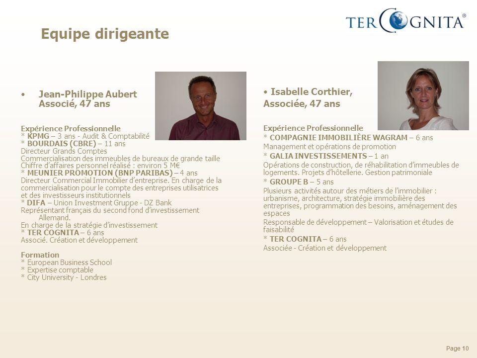 Page 10 Equipe dirigeante Jean-Philippe Aubert Associé, 47 ans Expérience Professionnelle * KPMG – 3 ans - Audit & Comptabilité * BOURDAIS (CBRE) – 11