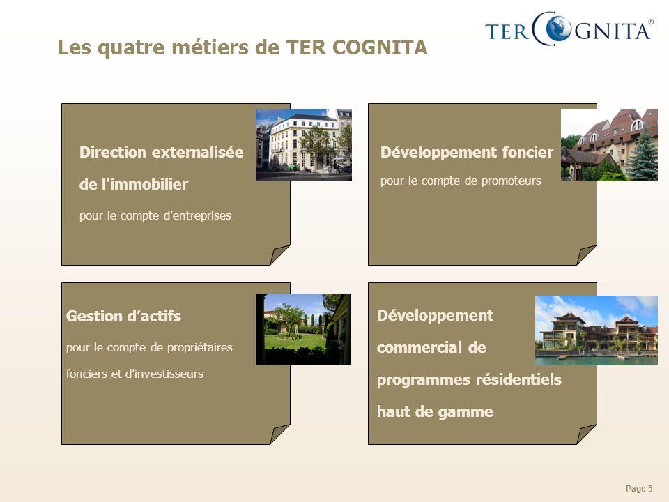 Page 5 Les quatre métiers de TER COGNITA Direction externalisée de limmobilier pour le compte dentreprises Développement foncier pour le compte de pro
