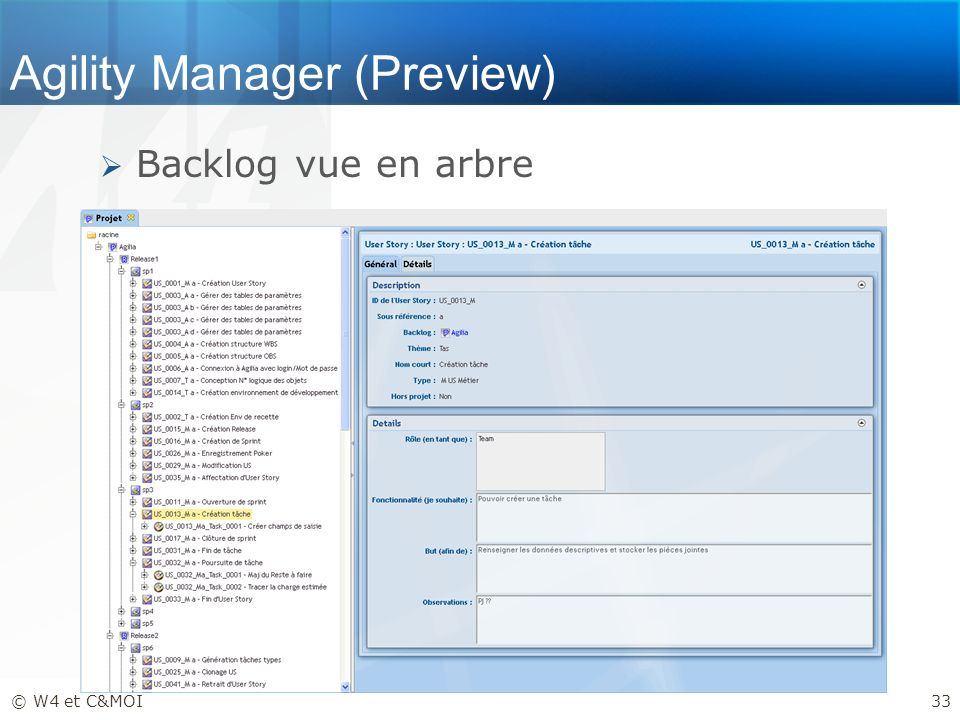 Agility Manager (Preview) Backlog vue en arbre © W4 et C&MOI33