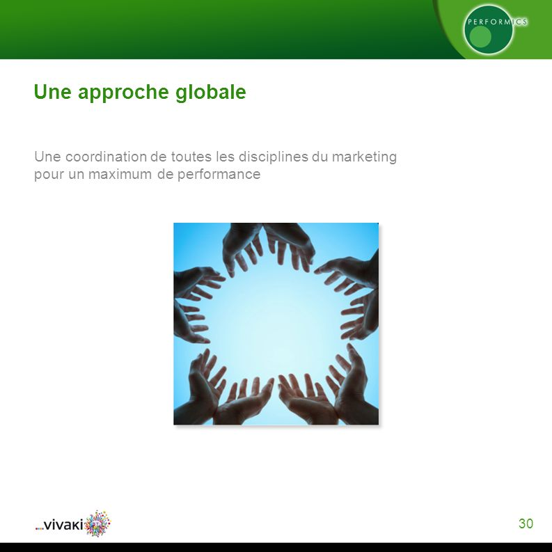 30 Une approche globale Une coordination de toutes les disciplines du marketing pour un maximum de performance