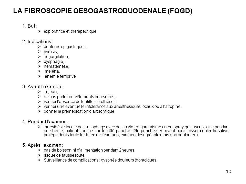 10 LA FIBROSCOPIE OESOGASTRODUODENALE (FOGD) 1. But : exploratrice et thérapeutique 2. Indications : douleurs épigastriques, pyrosis, régurgitation, d