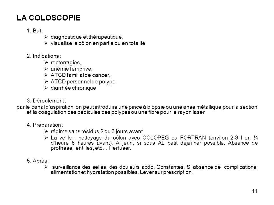 11 LA COLOSCOPIE 1. But : diagnostique et thérapeutique, visualise le côlon en partie ou en totalité 2. Indications : rectorragies, anémie ferriprive,