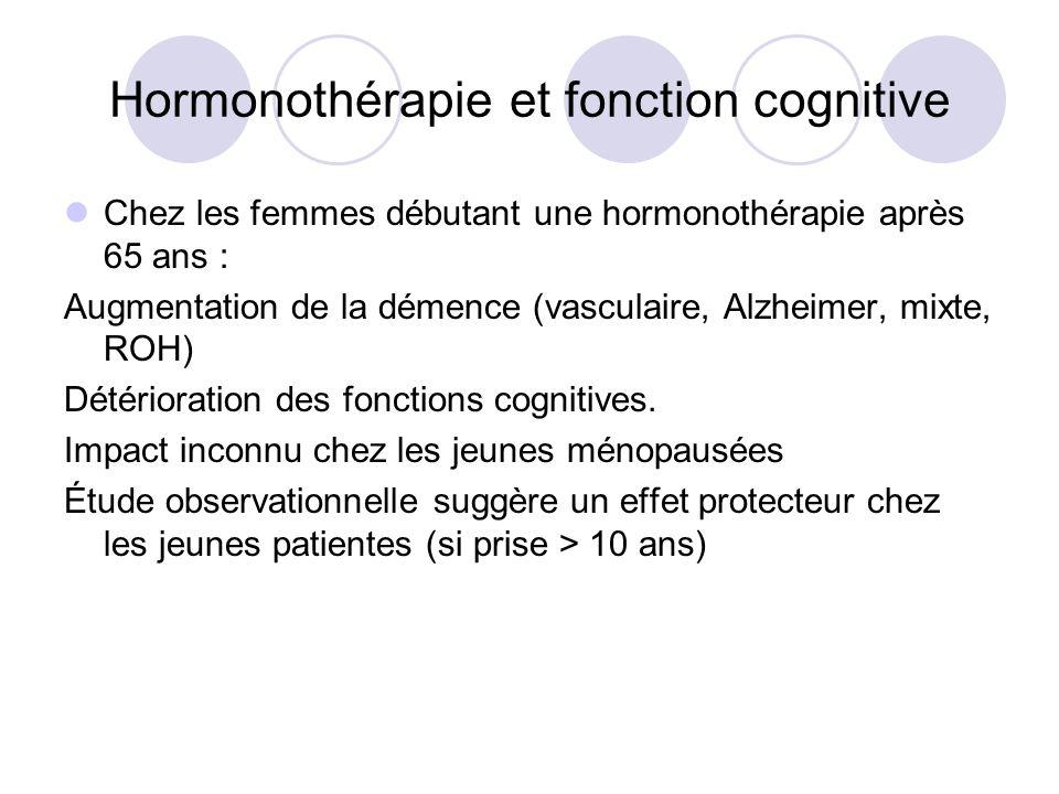 Hormonothérapie et fonction cognitive Chez les femmes débutant une hormonothérapie après 65 ans : Augmentation de la démence (vasculaire, Alzheimer, m