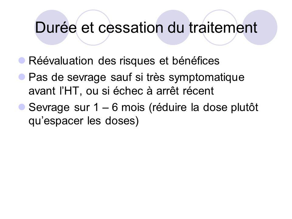 Durée et cessation du traitement Réévaluation des risques et bénéfices Pas de sevrage sauf si très symptomatique avant lHT, ou si échec à arrêt récent