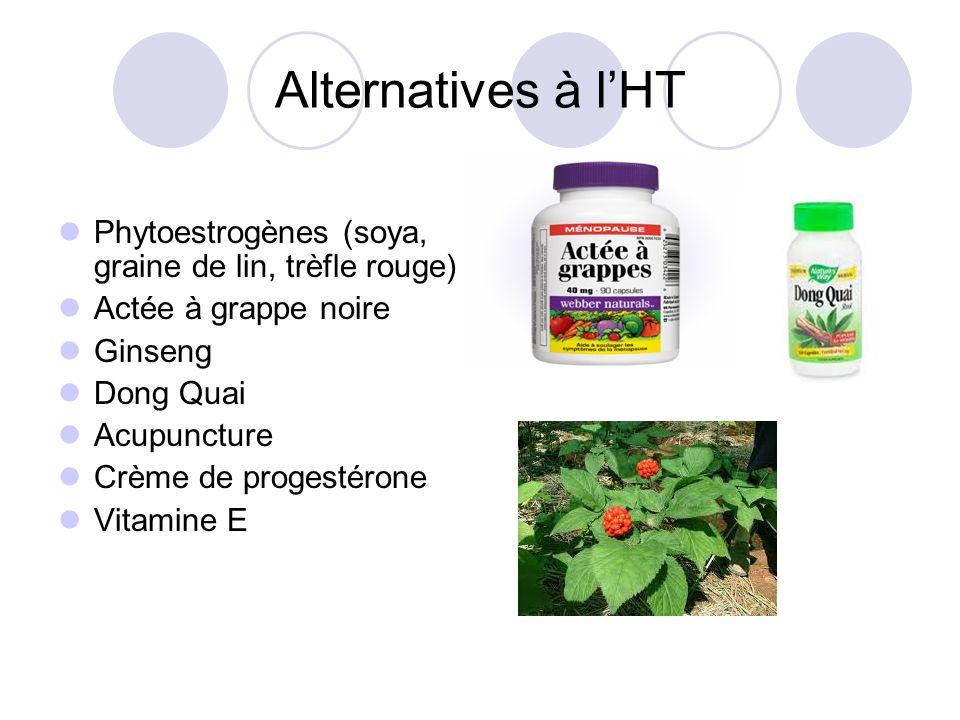 Alternatives à lHT Phytoestrogènes (soya, graine de lin, trèfle rouge) Actée à grappe noire Ginseng Dong Quai Acupuncture Crème de progestérone Vitami