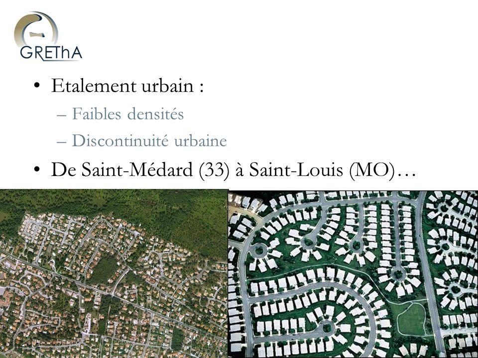 Groupe de Recherche en Economie Théorique et appliquée – UMR CNRS 5113 Lautomobile, un mode davenir… dans les années 60 « Ladaptation de la ville à lautomobile » –Infrastructures : rocades, parkings souterrains… –Accession à la propriété et étalement urbain Usage de lautomobile Etalement urbain (1) (2) (1)Transformation des gains de vitesse en allongement des distances (Loi de Zahavi) (2)La « dépendance automobile » due à la faible densité