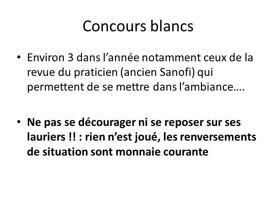 Concours blancs Environ 3 dans lannée notamment ceux de la revue du praticien (ancien Sanofi) qui permettent de se mettre dans lambiance…. Ne pas se d