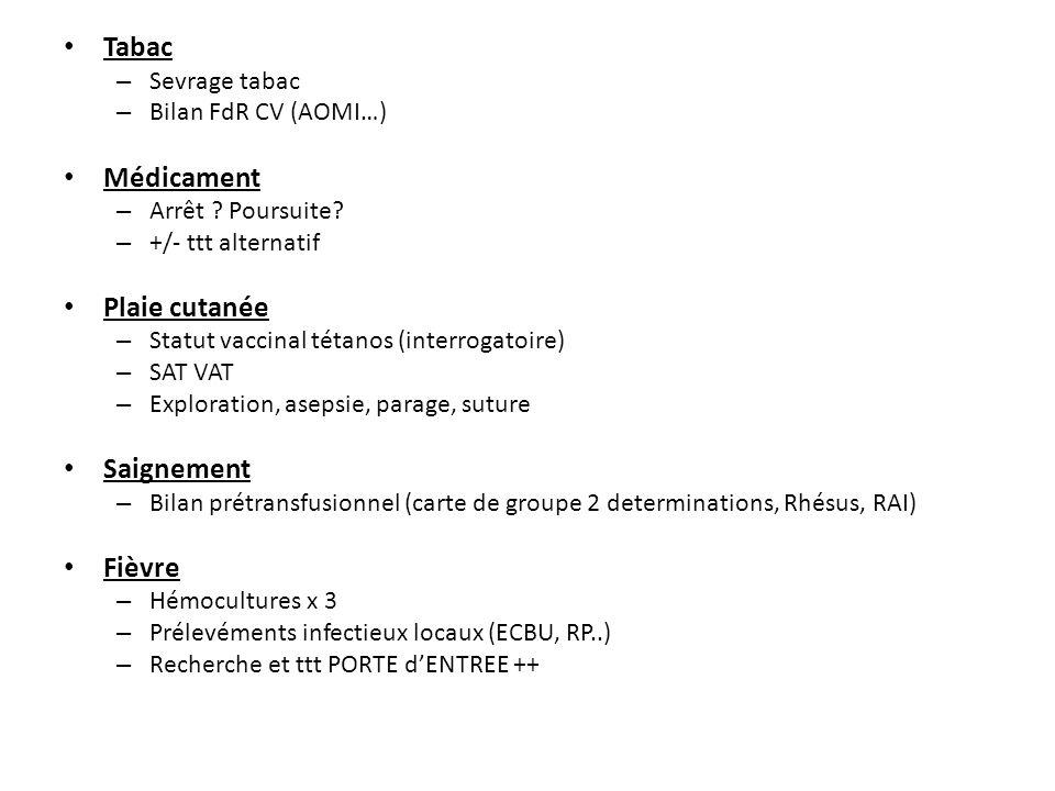 Tabac – Sevrage tabac – Bilan FdR CV (AOMI…) Médicament – Arrêt ? Poursuite? – +/- ttt alternatif Plaie cutanée – Statut vaccinal tétanos (interrogato