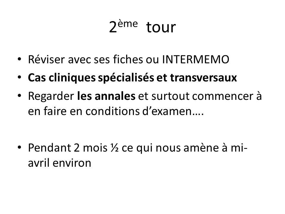 3 ème tour Cas cliniques transversaux +++++++++++++ Voir les dernières recos Revoir ses fiches selon les cas cliniques
