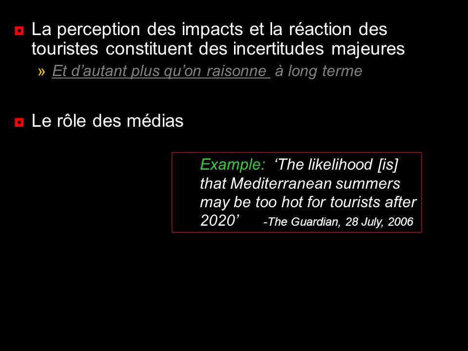 La perception des impacts et la réaction des touristes constituent des incertitudes majeures »Et dautant plus quon raisonne à long terme Le rôle des m