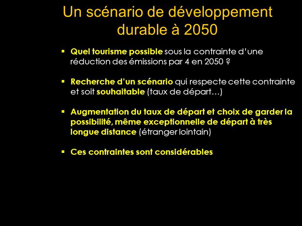 Un scénario de développement durable à 2050 Quel tourisme possible sous la contrainte dune réduction des émissions par 4 en 2050 ? Recherche dun scéna