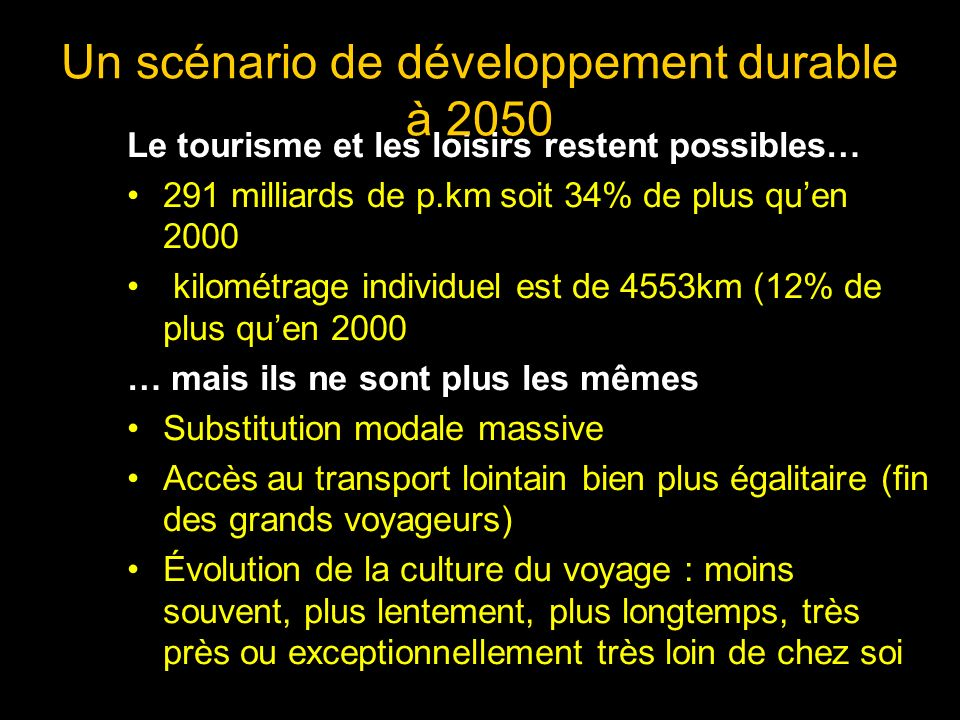 Le tourisme et les loisirs restent possibles… 291 milliards de p.km soit 34% de plus quen 2000 kilométrage individuel est de 4553km (12% de plus quen