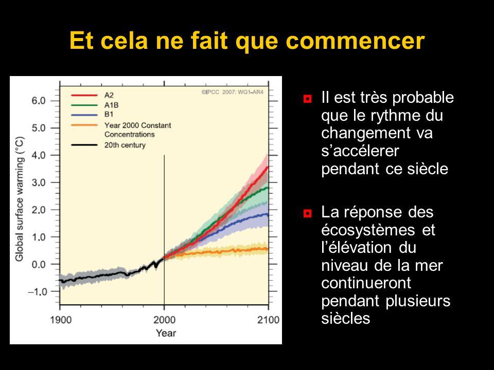 Et cela ne fait que commencer Il est très probable que le rythme du changement va saccélerer pendant ce siècle La réponse des écosystèmes et lélévatio