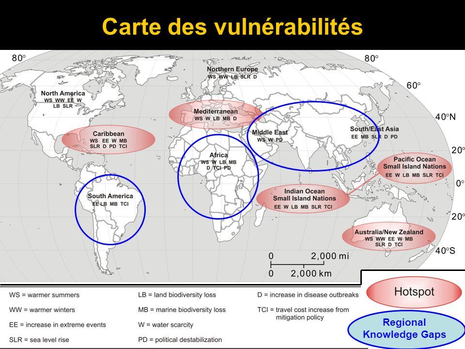 Carte des vulnérabilités Regional Knowledge Gaps