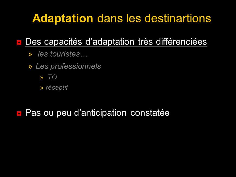 Adaptation dans les destinartions Des capacités dadaptation très différenciées » les touristes… »Les professionnels » TO »réceptif Pas ou peu danticip