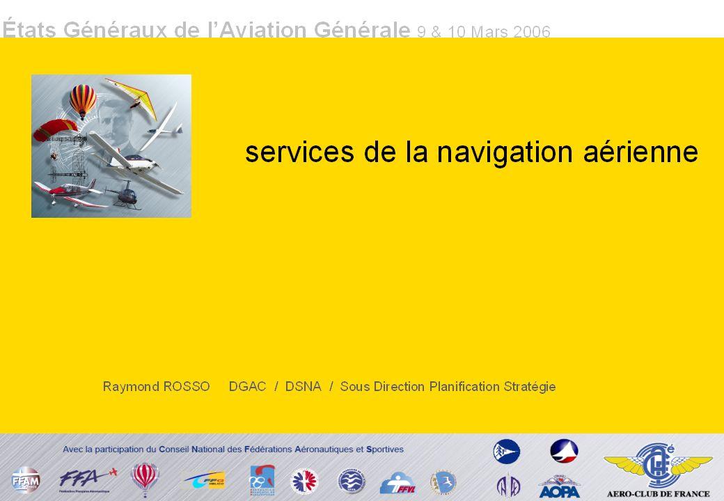 DSNA Objectif prioritaire SECURITE à la Navigation Aérienne IFRIFR + 700.000 vols en 10 ans 28% des vols CEAC progression annuelle 2,5% SERVICES Tous USAGERS Aérodrome non contrôlé Organisme AFIS Le contexte de la navigation aérienne en France