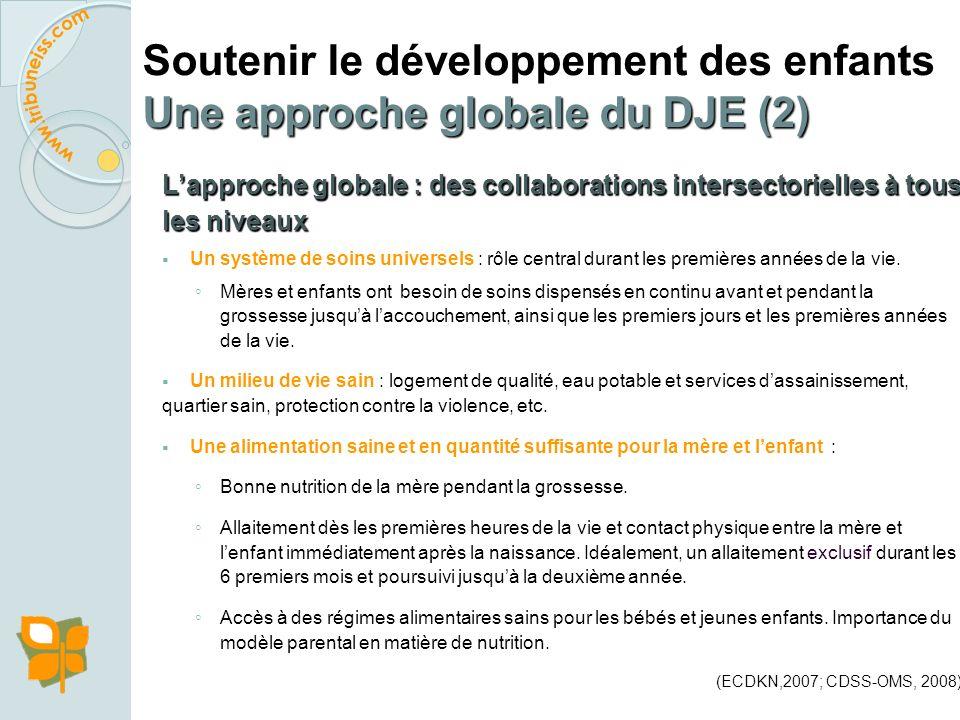 Soutenir le développement des enfants Une approche globale du DJE Les conditions de succès des interventions en DJE : Privilégier des programmes simpl