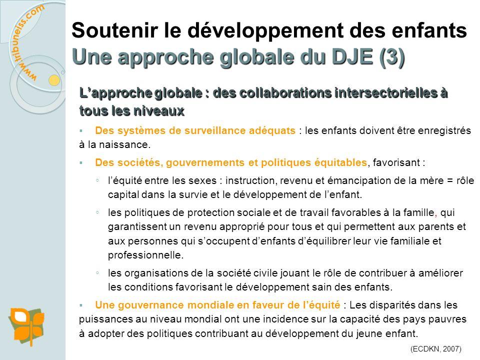 Lapproche globale : des collaborations intersectorielles à tous les niveaux Un système de soins universels : rôle central durant les premières années