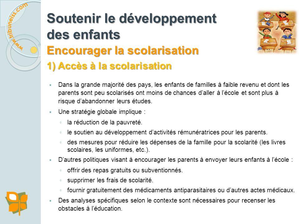 1) Accès à la scolarisation 2) Qualité de la scolarisation Soutenir le développement des enfants Encourager la scolarisation Comment?