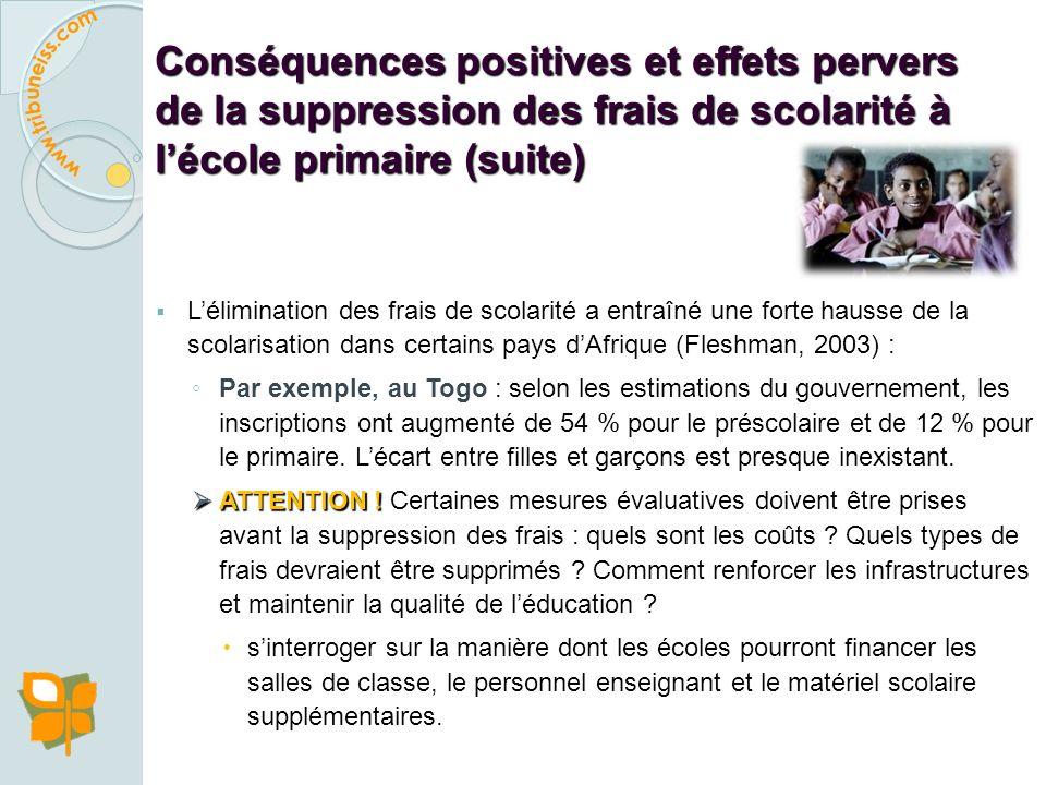 Conséquences positives et effets pervers de la suppression des frais de scolarité à lécole primaire
