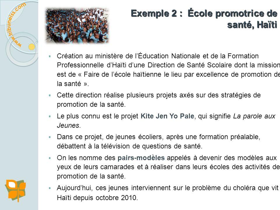 Exemple 1 : Initiative conjointe de lOMS, de lUNICEF, de lUNESCO, de la Banque mondiale et dautres partenaires afin de rendre les écoles plus saines p