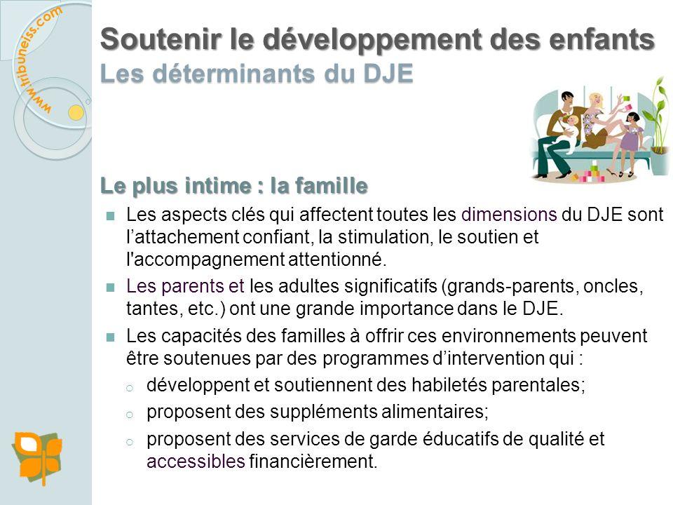 Soutenir le développement des enfants Les déterminants du DJE Trois dimensions du DJE contribuent à la santé et à léquité durant le parcours de vie :