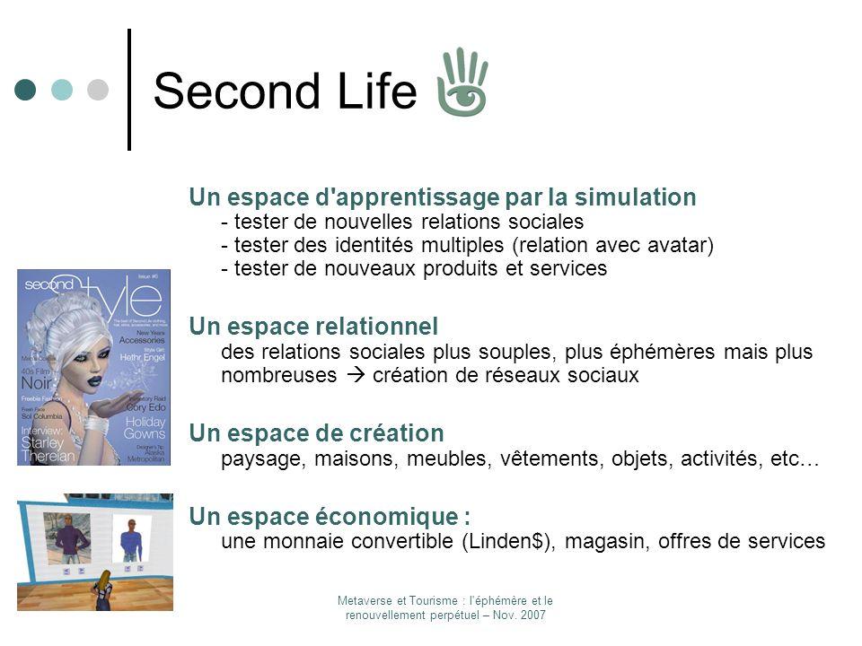 Metaverse et Tourisme : l'éphémère et le renouvellement perpétuel – Nov. 2007 Second Life Un espace d'apprentissage par la simulation - tester de nouv