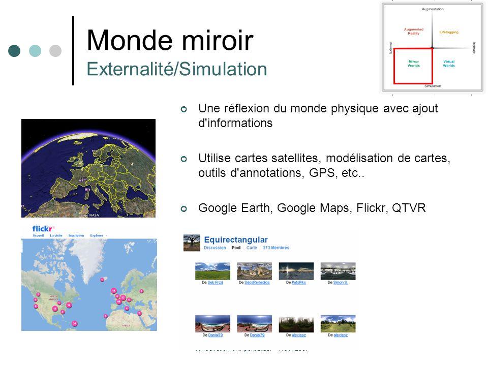 Metaverse et Tourisme : l'éphémère et le renouvellement perpétuel – Nov. 2007 Monde miroir Externalité/Simulation Une réflexion du monde physique avec