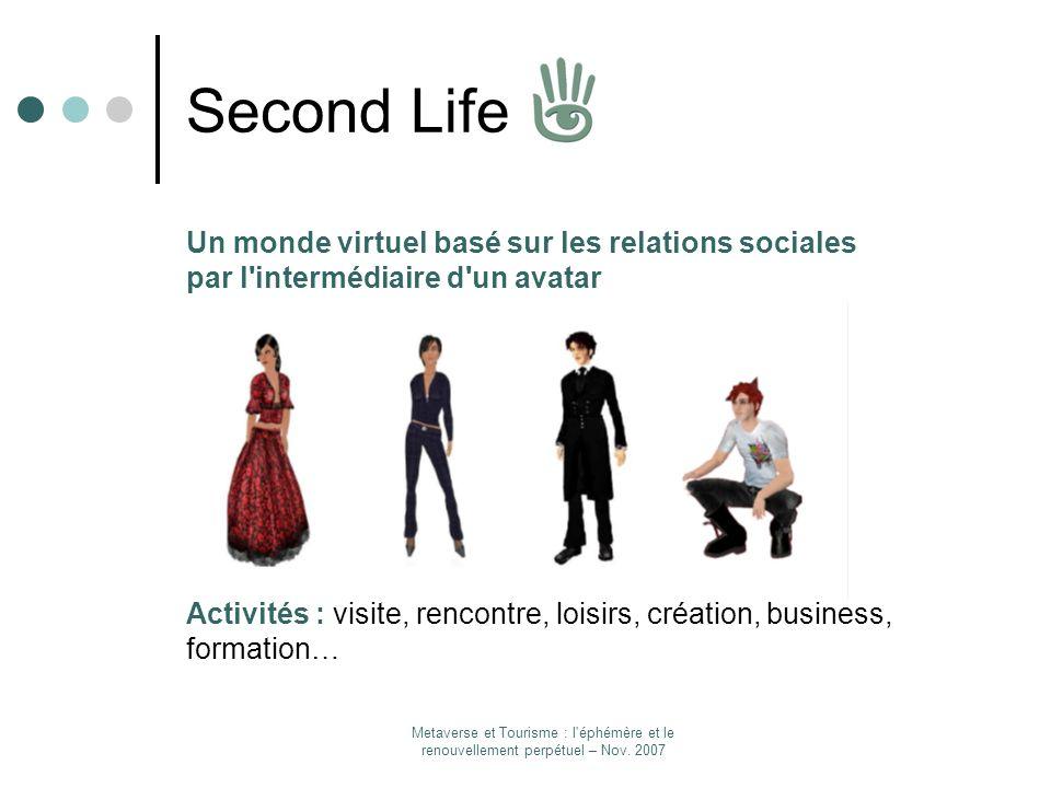 Metaverse et Tourisme : l'éphémère et le renouvellement perpétuel – Nov. 2007 Second Life Un monde virtuel basé sur les relations sociales par l'inter