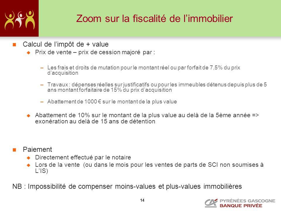 14 Zoom sur la fiscalité de limmobilier Calcul de limpôt de + value Prix de vente – prix de cession majoré par : –Les frais et droits de mutation pour