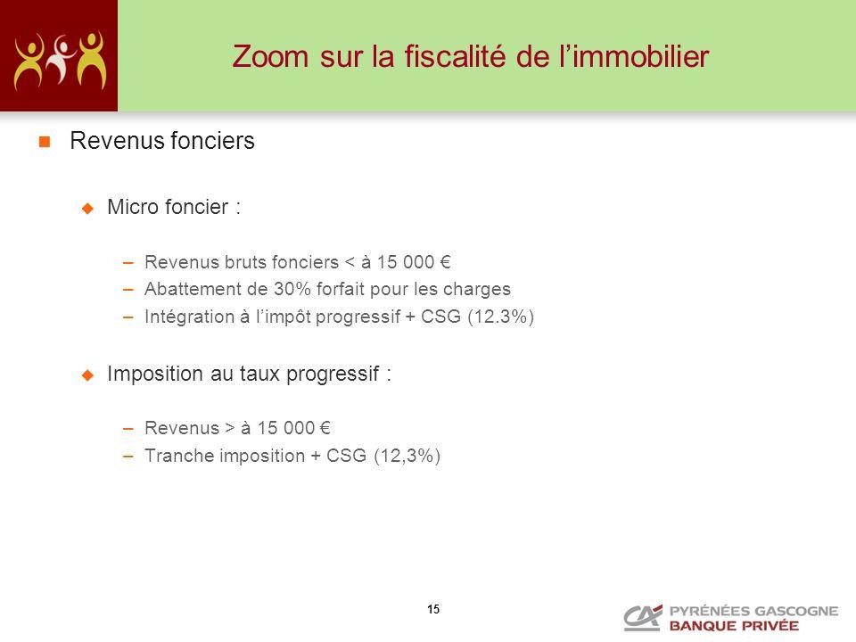 15 Zoom sur la fiscalité de limmobilier Revenus fonciers Micro foncier : –Revenus bruts fonciers < à 15 000 –Abattement de 30% forfait pour les charge