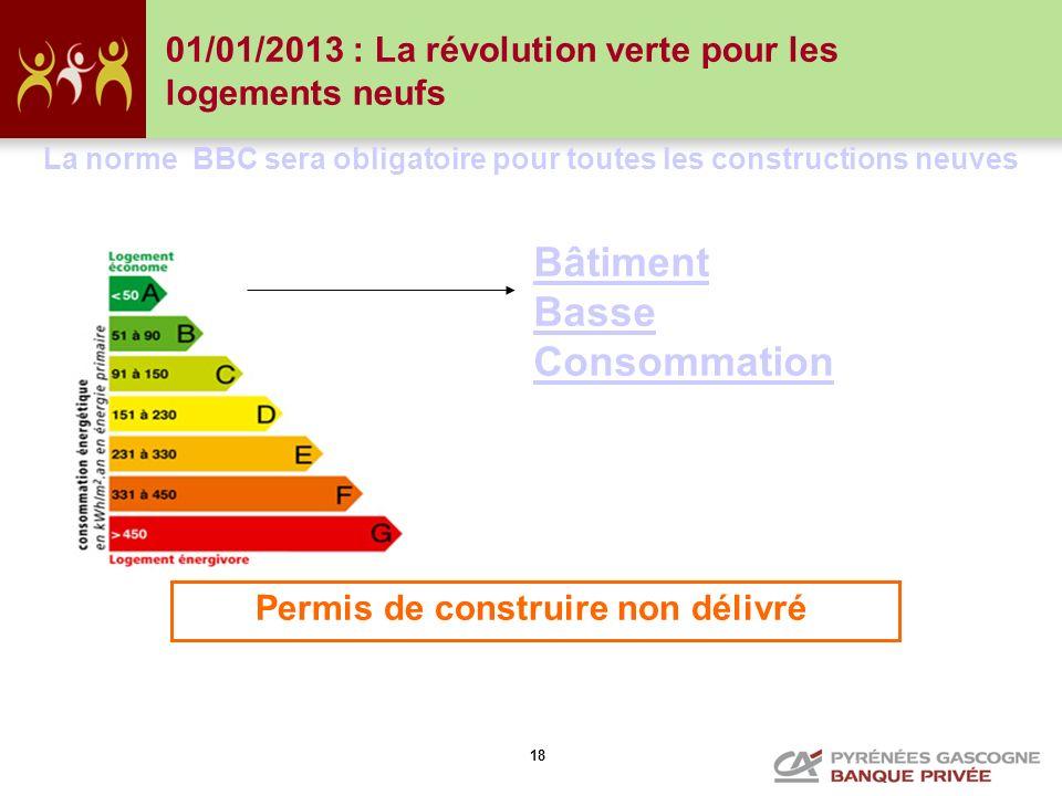 18 La norme BBC sera obligatoire pour toutes les constructions neuves Permis de construire non délivré Bâtiment Basse Consommation 01/01/2013 : La rév