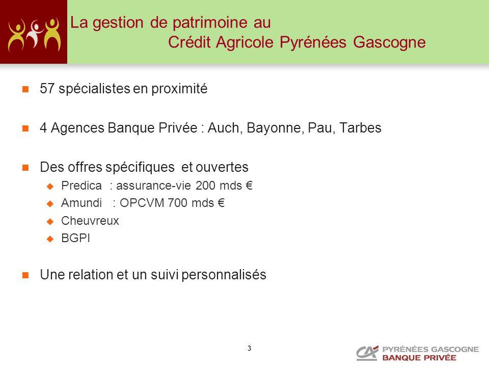3 La gestion de patrimoine au Crédit Agricole Pyrénées Gascogne 57 spécialistes en proximité 4 Agences Banque Privée : Auch, Bayonne, Pau, Tarbes Des