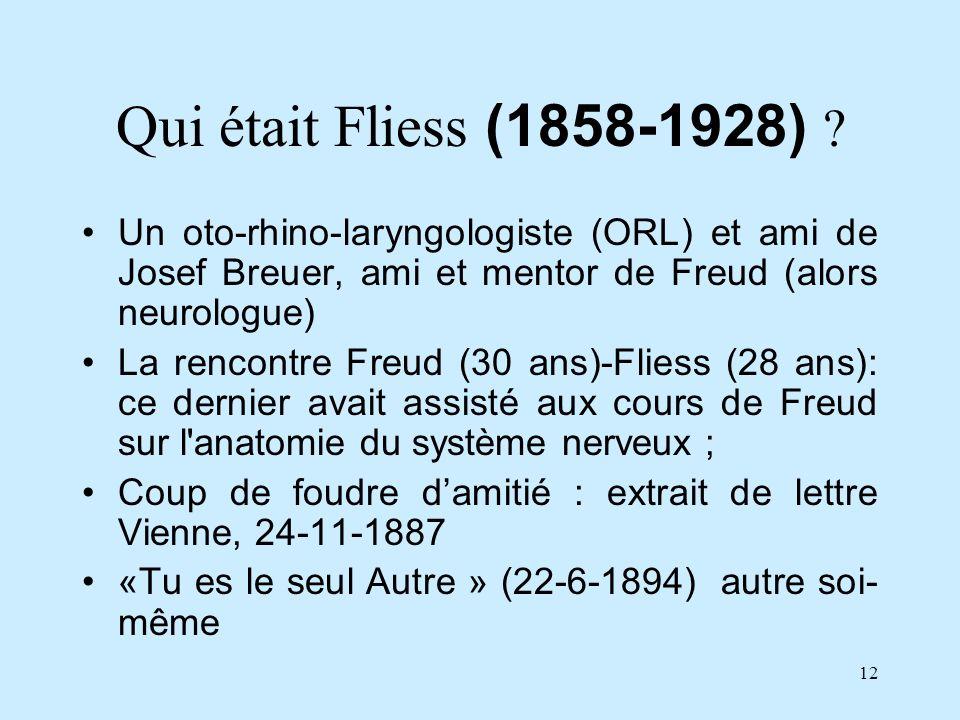 12 Qui était Fliess (1858-1928) ? Un oto-rhino-laryngologiste (ORL) et ami de Josef Breuer, ami et mentor de Freud (alors neurologue) La rencontre Fre