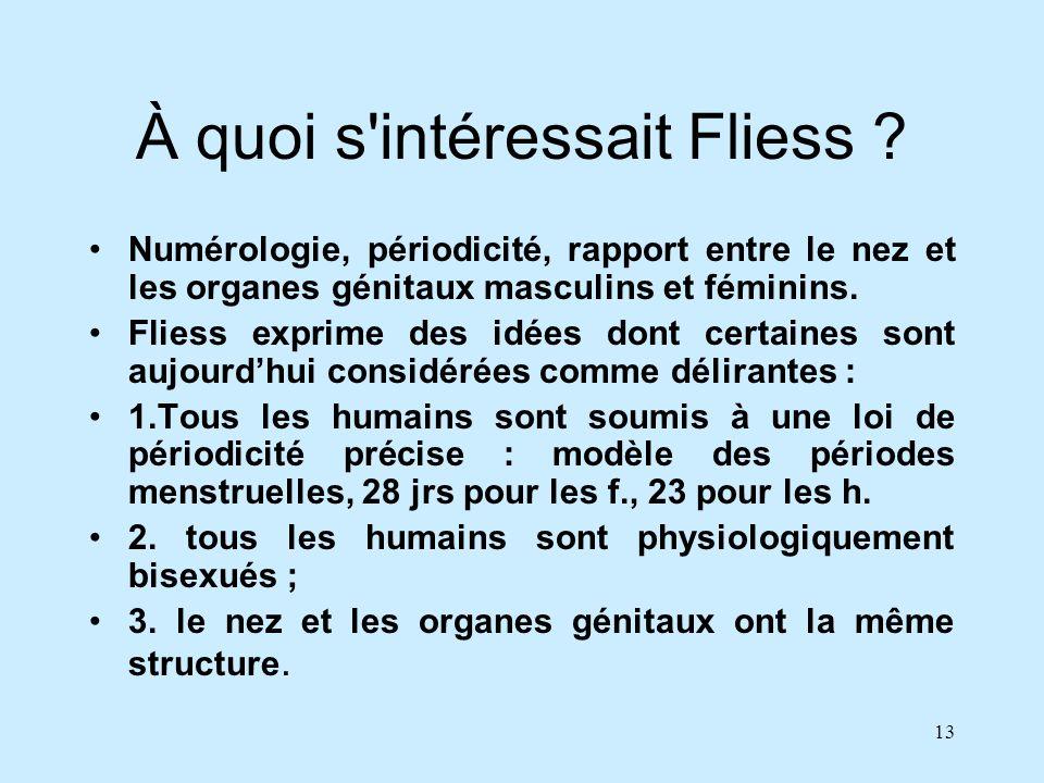 13 À quoi s'intéressait Fliess ? Numérologie, périodicité, rapport entre le nez et les organes génitaux masculins et féminins. Fliess exprime des idée