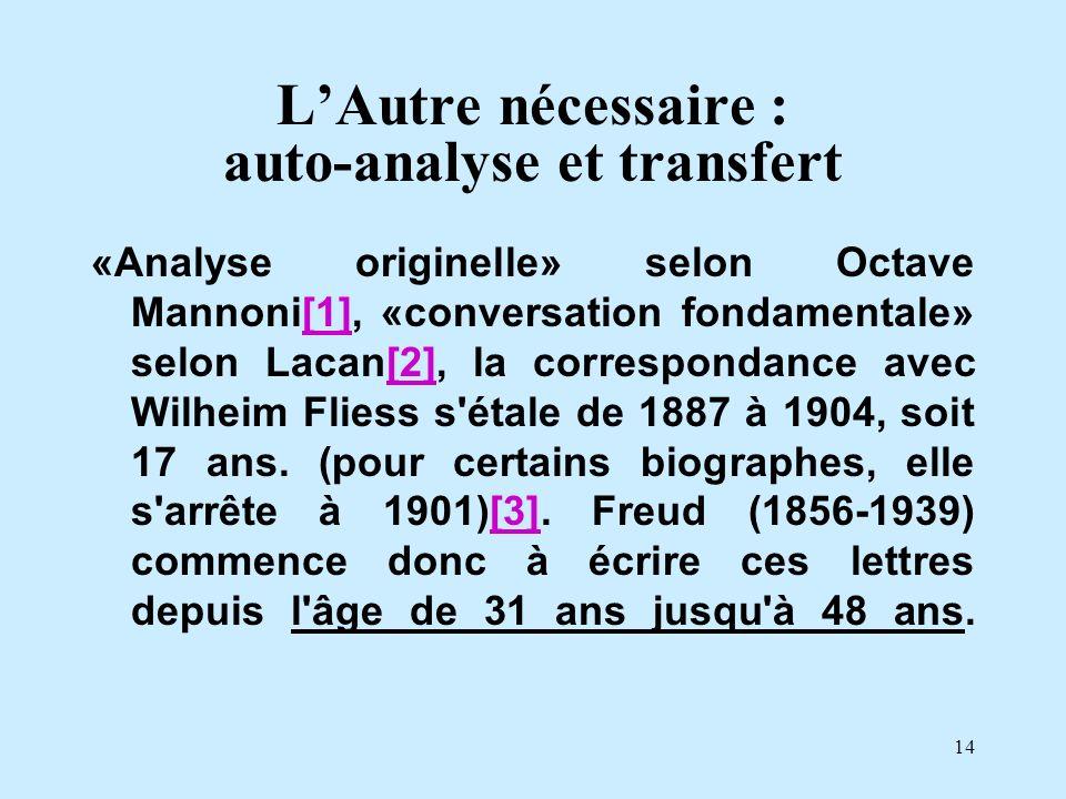 14 LAutre nécessaire : auto-analyse et transfert «Analyse originelle» selon Octave Mannoni[1], «conversation fondamentale» selon Lacan[2], la correspo