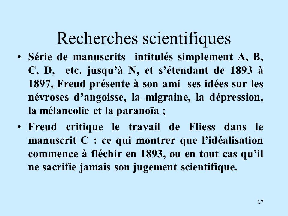 17 Recherches scientifiques Série de manuscrits intitulés simplement A, B, C, D, etc. jusquà N, et sétendant de 1893 à 1897, Freud présente à son ami