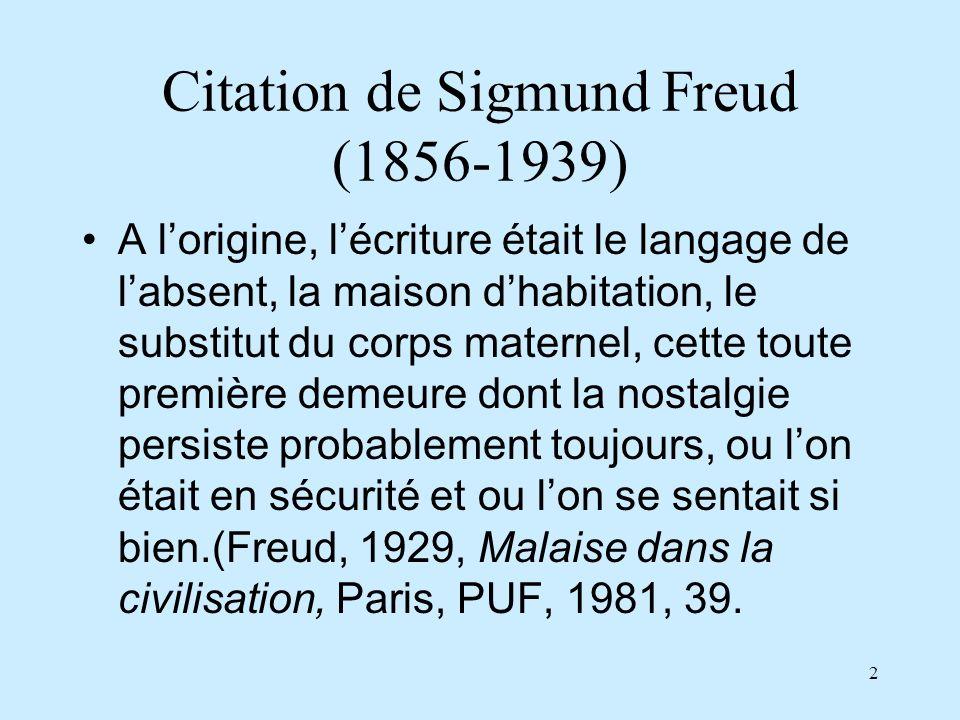 2 Citation de Sigmund Freud (1856-1939) A lorigine, lécriture était le langage de labsent, la maison dhabitation, le substitut du corps maternel, cett