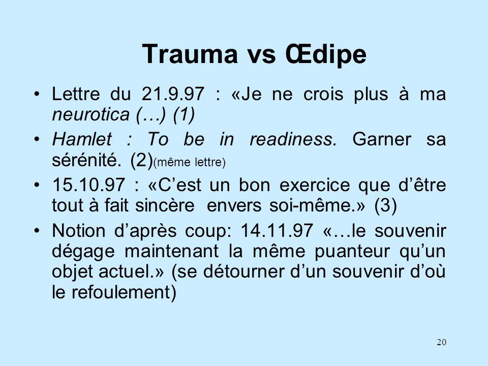 20 Trauma vs Œdipe Lettre du 21.9.97 : «Je ne crois plus à ma neurotica (…) (1) Hamlet : To be in readiness. Garner sa sérénité. (2) (même lettre) 15.