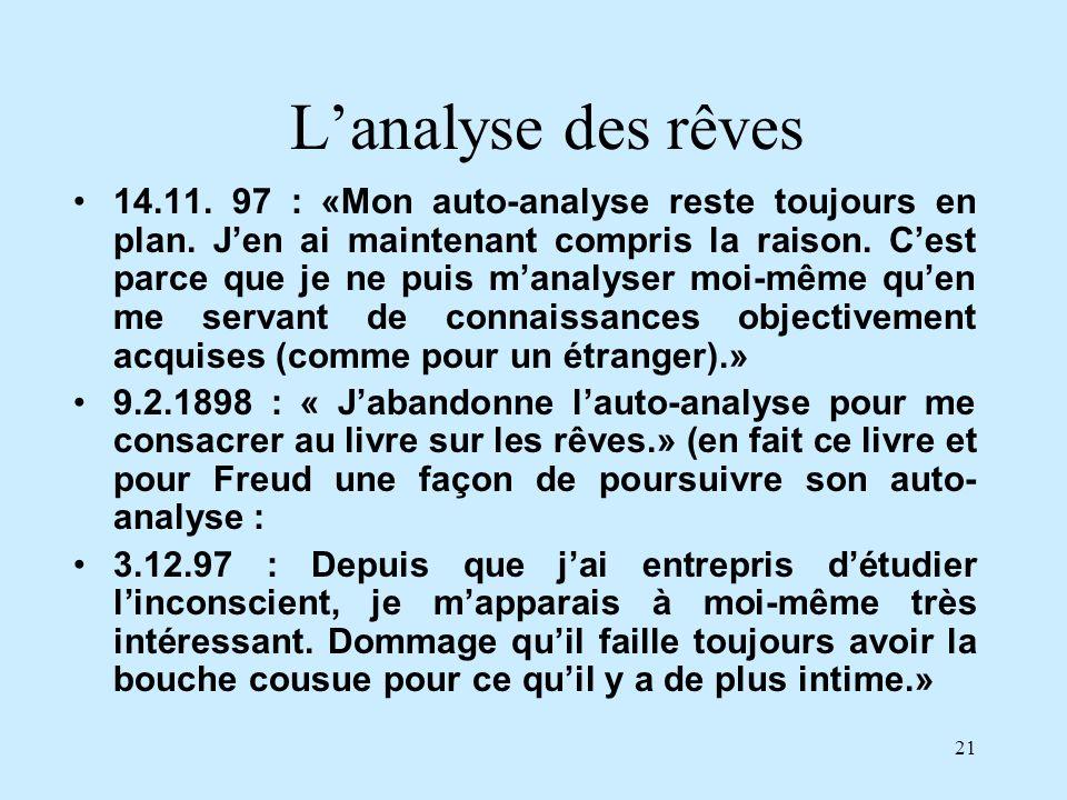 21 Lanalyse des rêves 14.11. 97 : «Mon auto-analyse reste toujours en plan. Jen ai maintenant compris la raison. Cest parce que je ne puis manalyser m